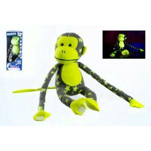 Teddies Opice svítící ve tmě šedo-žlutá