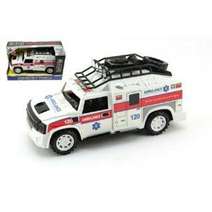 Teddies Auto ambulance plast 25cm na setrvačník na baterie se zvukem se světlem v krabici