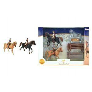 Teddies Sada 2 ks koní + žokejové s doplňky farma