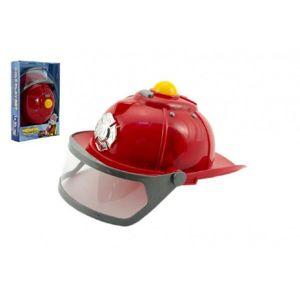 Teddies Helma přilba hasič plast 28cm na baterie se světlem se zvukem