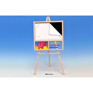 Tabule školní dřevo 88x44cm magnetická i pro psaní na fólii s počítadlem a hodinami v sáčku