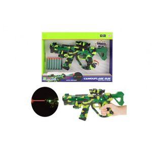 Pistole na pěnové náboje s laserem plast 32cm na baterie se světlem a se zvukem v krabici 38x27x5cm