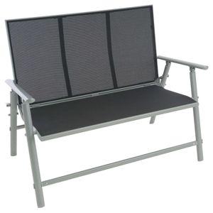 Zahradní hliníková lavička, 2-místná, 119 cm, šedá