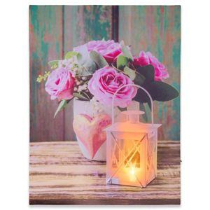 Nástěnná malba růže a lucernička, 1 LED, 30 x 40 cm