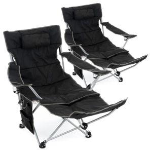 Sada 2 ks kempingových židlí s odnímatelná podnožkou, černá